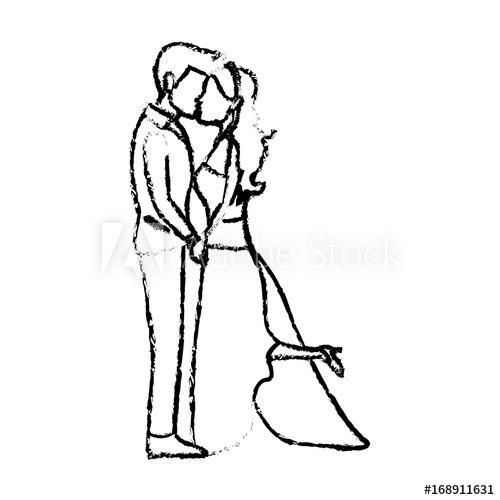 500x500 Romantic Couple Wedding Woman And Man Kissing Vector Illustration