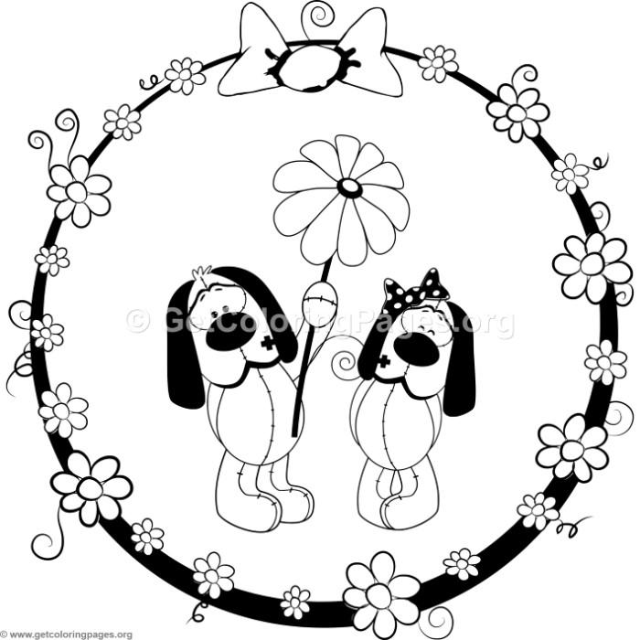 700x700 Cartoon Animal Romantic Couple In Love Cute Dogs