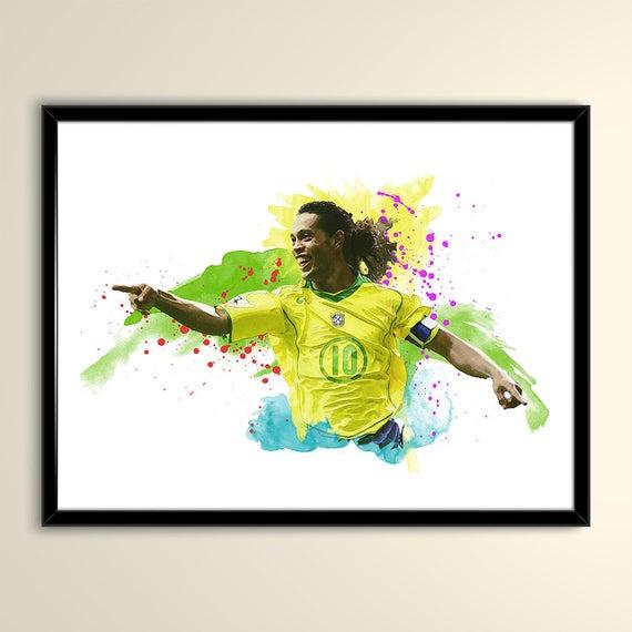 570x570 Ronaldinho Brazil Football Poster Matte Paper Wall Art Print Etsy