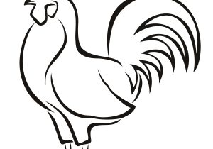 300x210 Rooster Drawing Easy Rooster