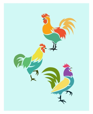 380x468 Roosters Drawing Design With Colorful Outline Vectors Stock
