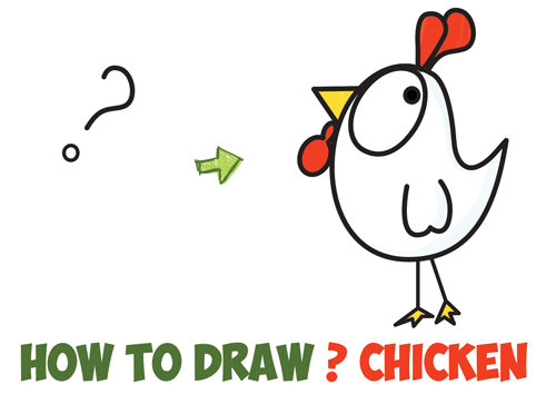 500x354 How To Draw A Cartoon Chicken Rooster From And ! Shapes