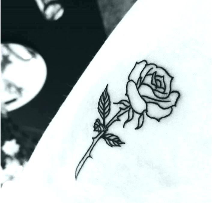 706x676 Pin Up Tattoo Outline Pictures To On Simple Rose Stem