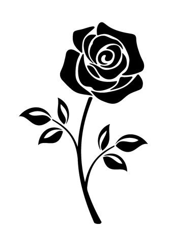 338x450 Stock Vector Vector Black Silhouette Of A Rose Flower