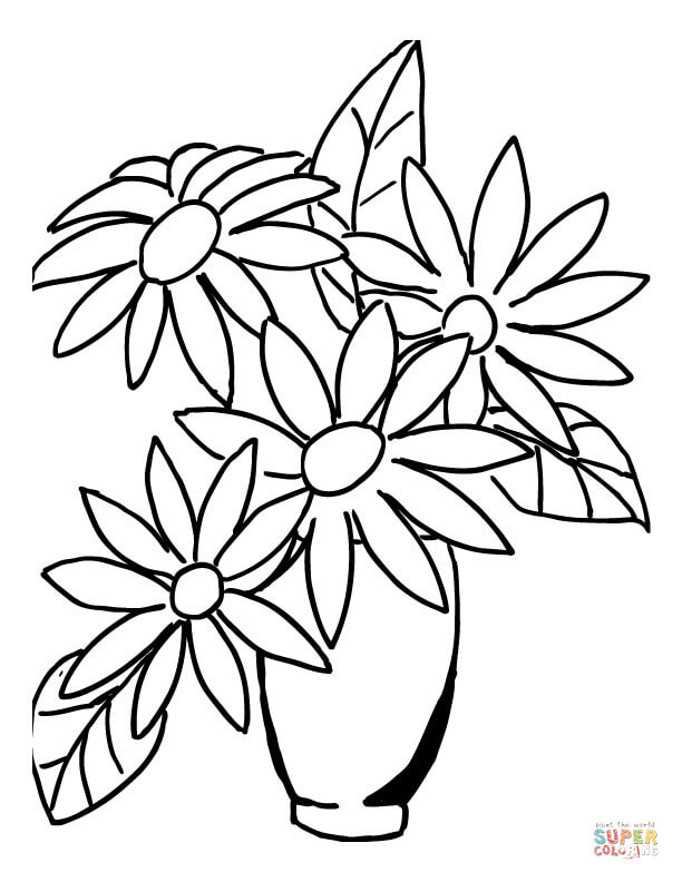 612x792 Excellent How To Draw A Bouquet Of Flowers In Vase Flower Coloring