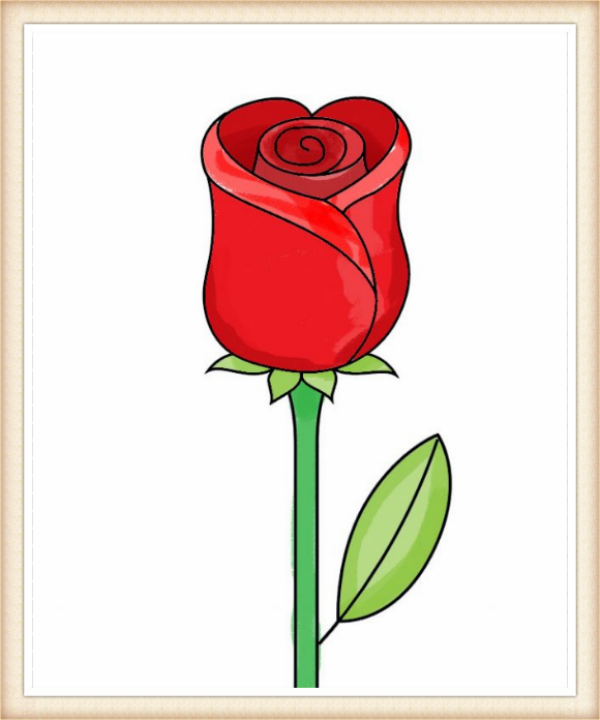 600x720 Color Your Rose Drawing Life Drawings, Rose Step