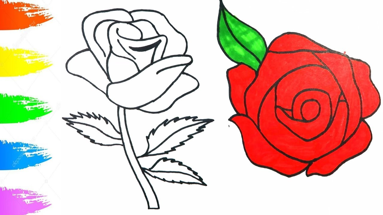 1280x720 How To Draw Red Rose Easy Tutorial Coloring Pages For Children