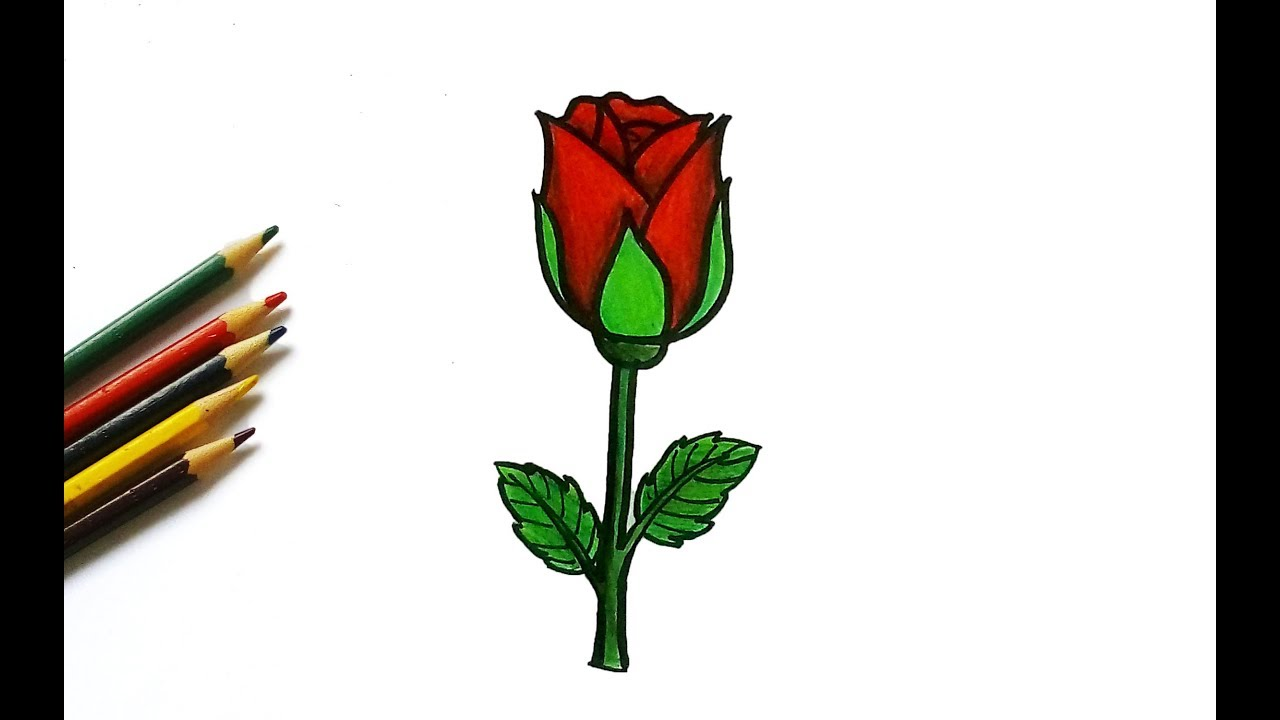 1280x720 How To Draw A Cute Rose For Kids Easy Drawing Tutorial
