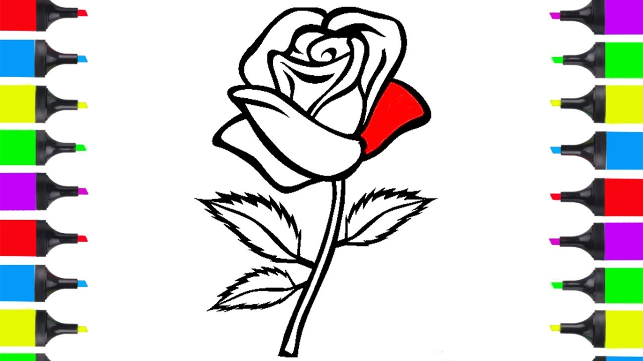 1280x720 How To Draw Red Rose Coloring Pages Flowers Kids Learn Drawing