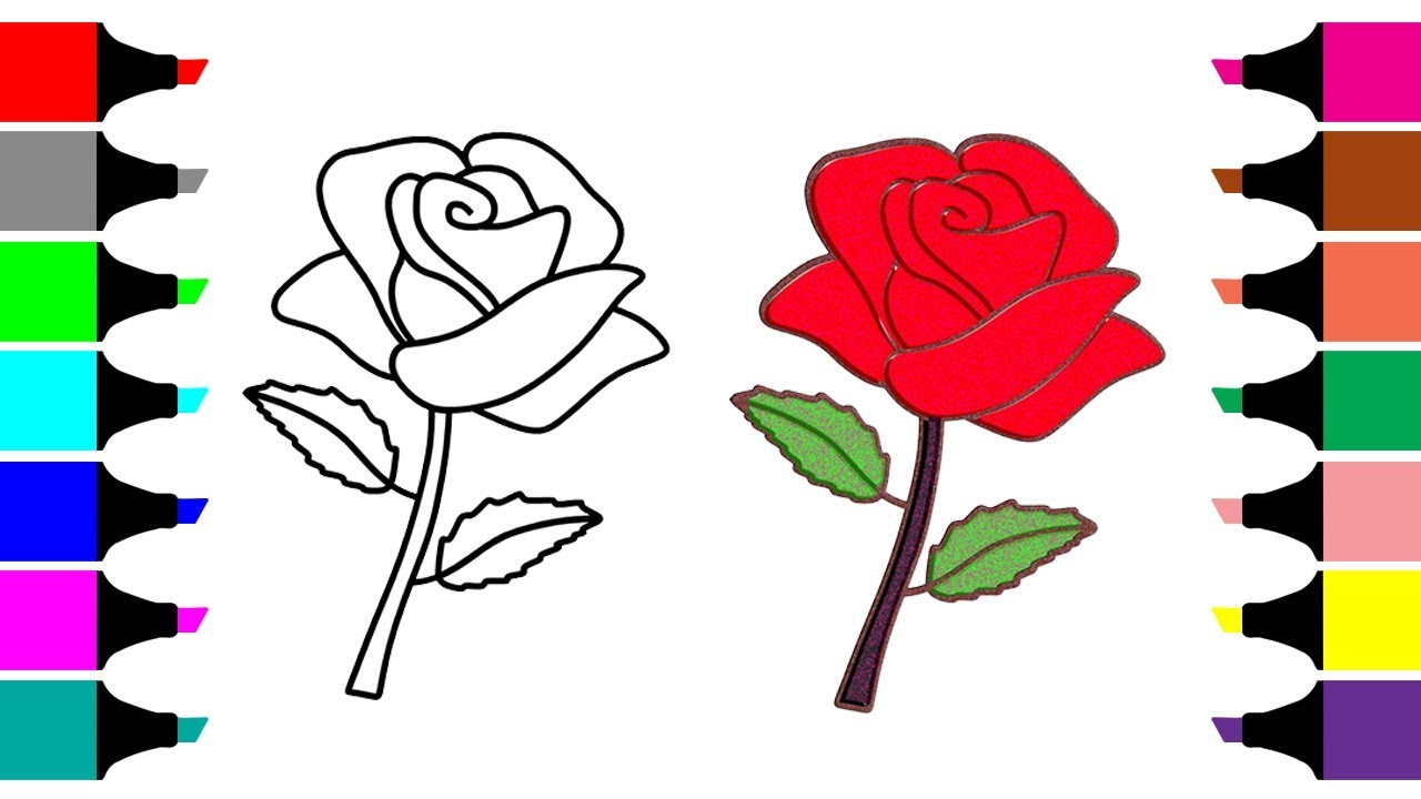 1280x720 Glitter Flowers Drawing And Coloring How To Draw A Rose Mirza