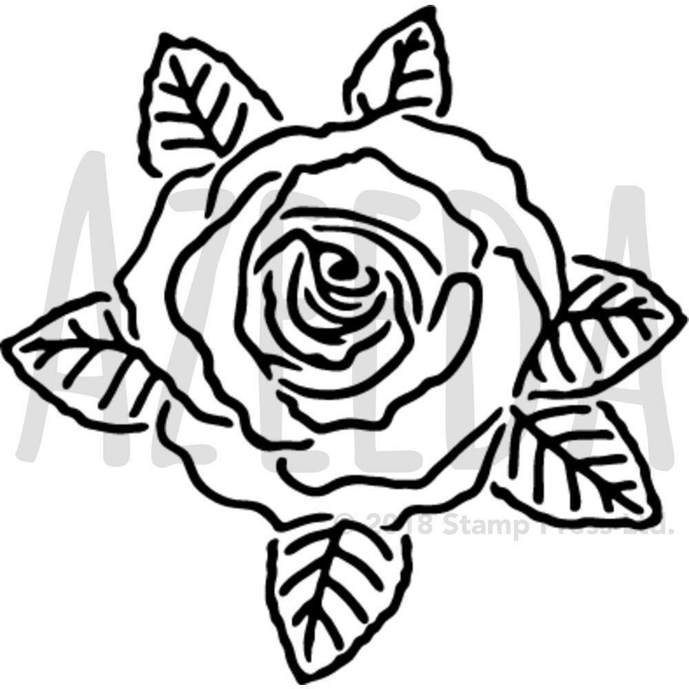 1000x1000 'rose' Wall Stencil Template