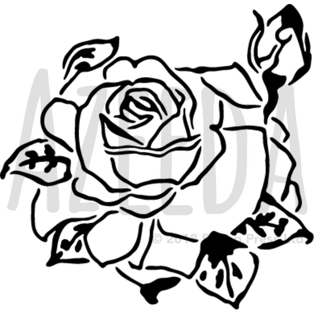 1000x1000 'rose Head' Wall Stencil Template