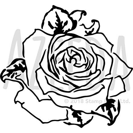 466x466 Large 'rose Flower Head' Wall Stencil Template