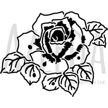 355x355 Azeeda 'romantic Rose' Wall Stencil Template