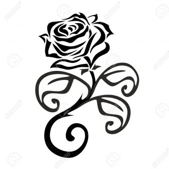 336x336 Black And White Flowers Simple Rose Drawing Free Border Line