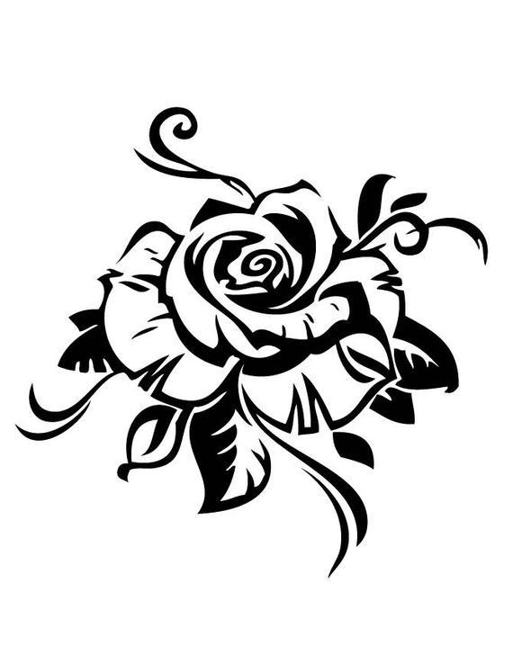 570x738 Rose Version Flower Plant Nature Stencil Handcut Etsy