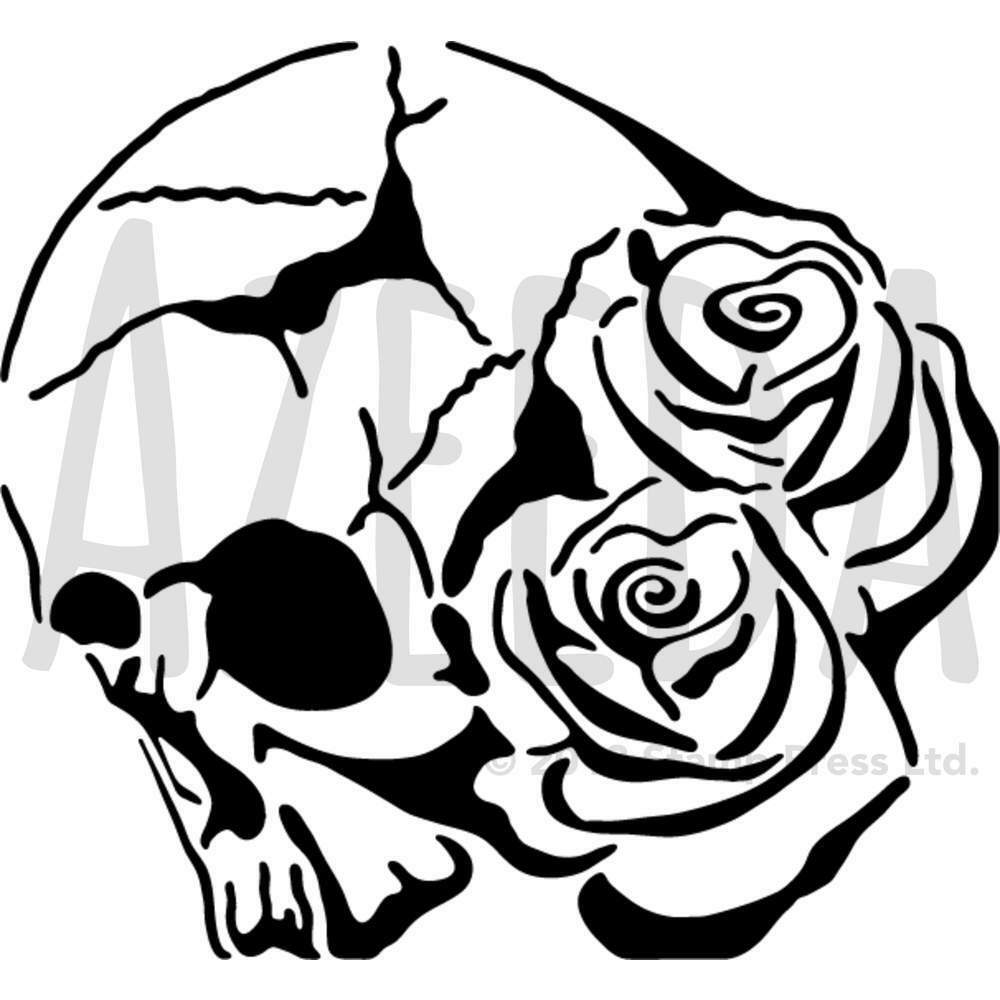 1000x1000 'skull With Roses' Wall Stencil Template