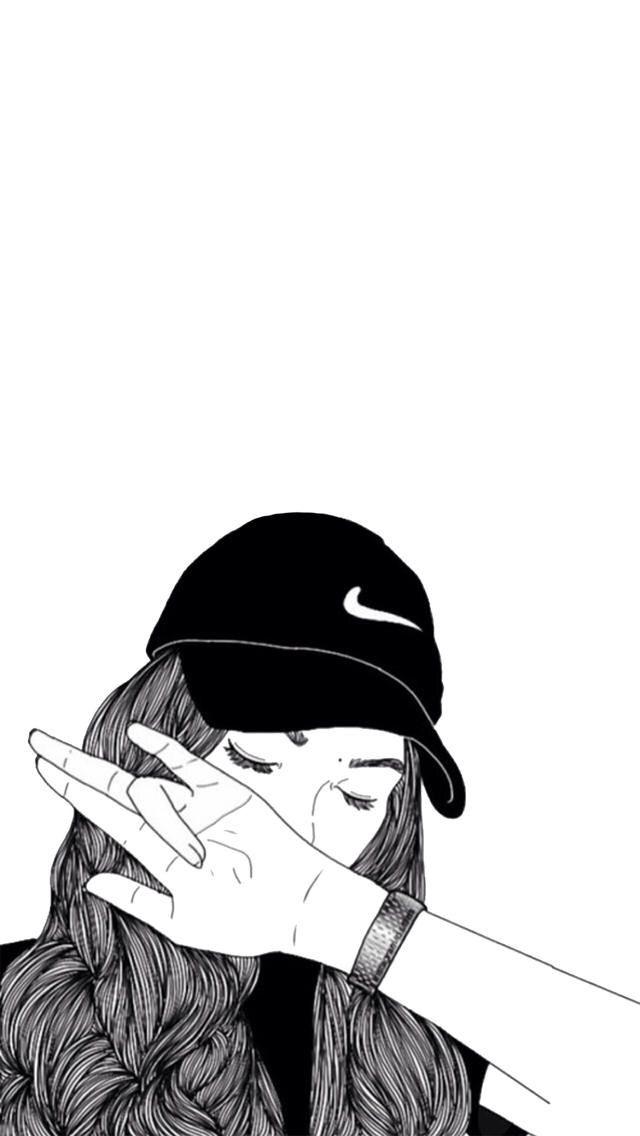 640x1136 Hurricane Drawing Girl Nike Tumblr For Free Download