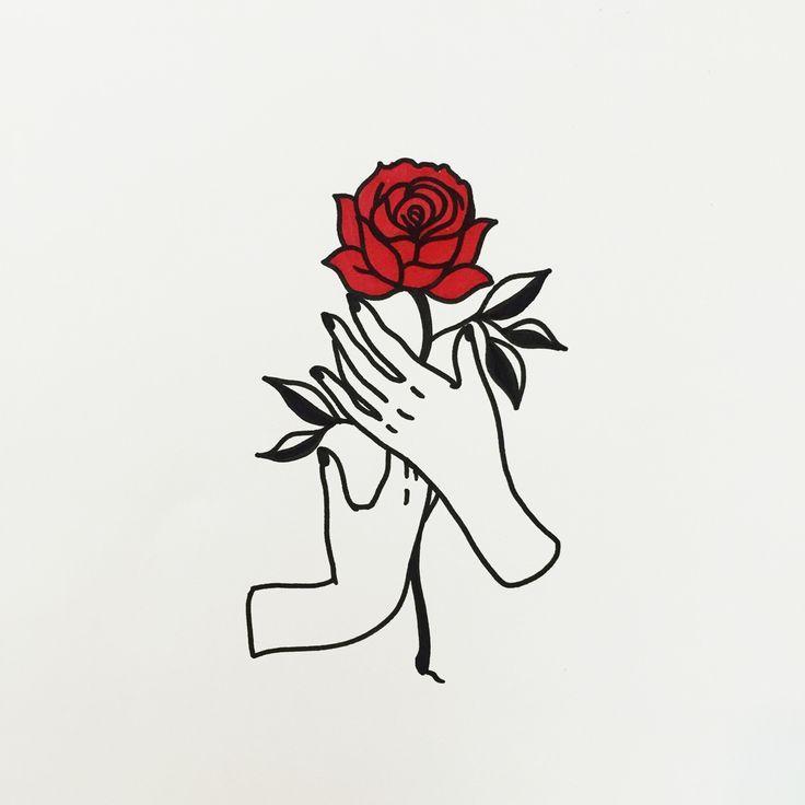 736x736 Hands Holding A Rose Doodle Outline Vorlagen In Tattoos