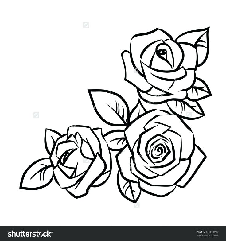 736x785 Simple Sketch Of A Rose Contour Rose Flower Black And White Doodle