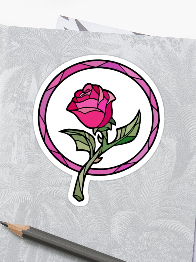 750x1000 Stained Glass Rose Beauty And The Beast Sticker