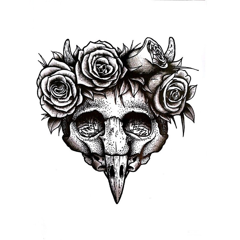 800x800 Rose Head Skull Tattoo