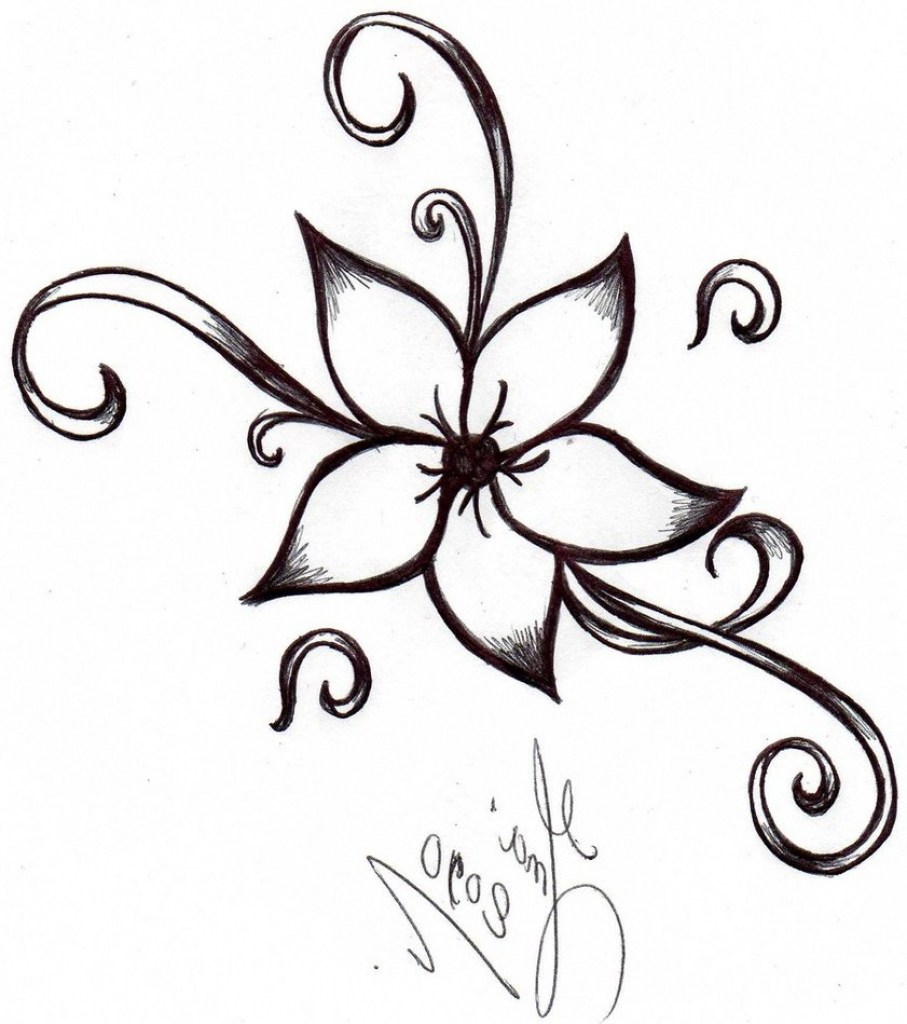 907x1024 Simple Flower Designs For Pencil Drawing Step