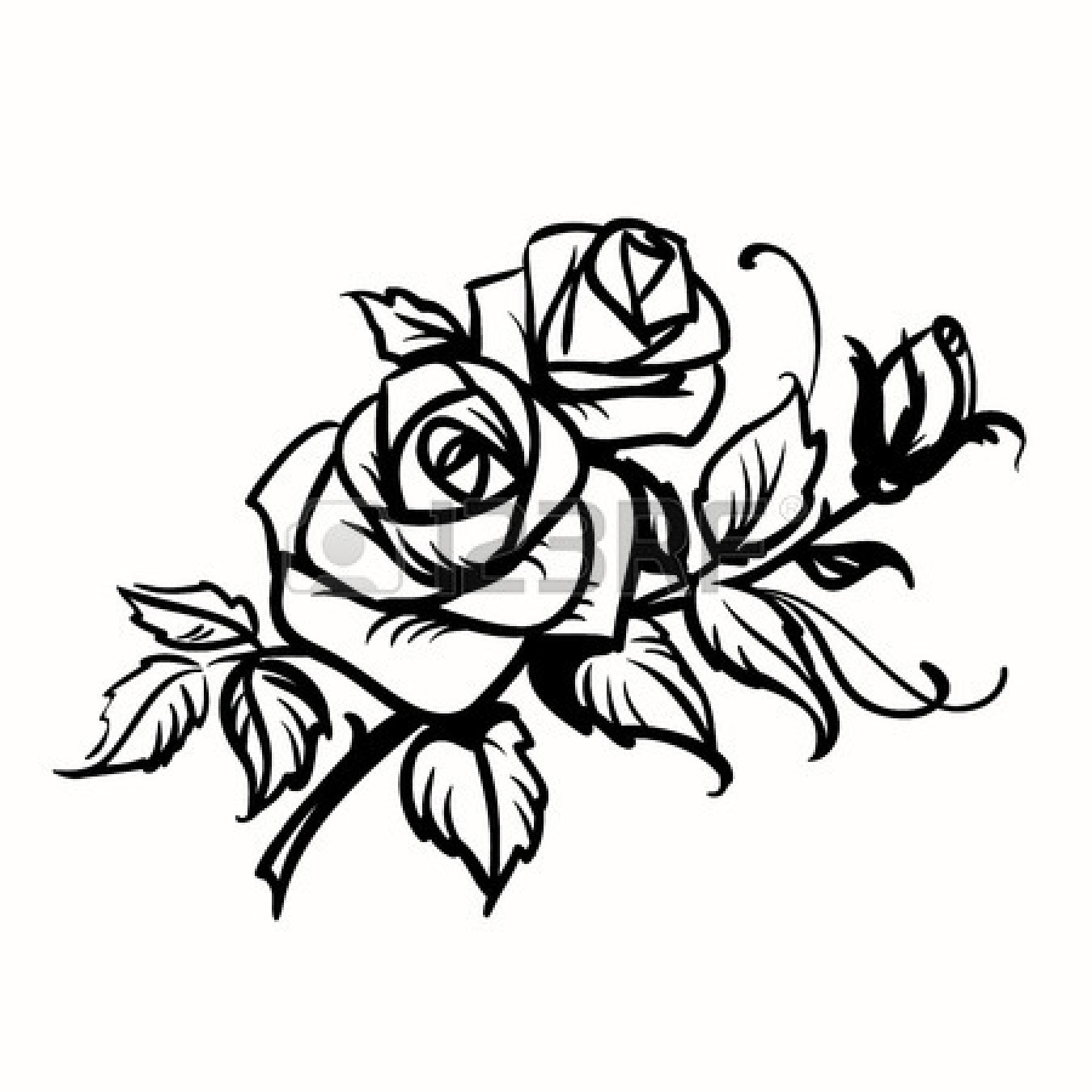 1350x1350 Rose Clip Art Line Drawing