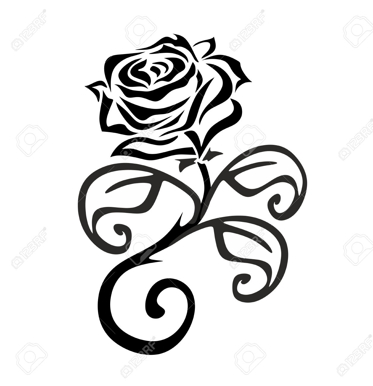 1256x1300 Black And White Flowers Simple Rose Drawing Free Border Line