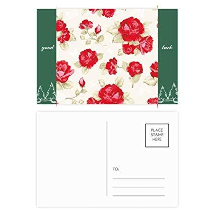 425x425 Rose Red Drawing Art Plant Good Luck Postcard Set
