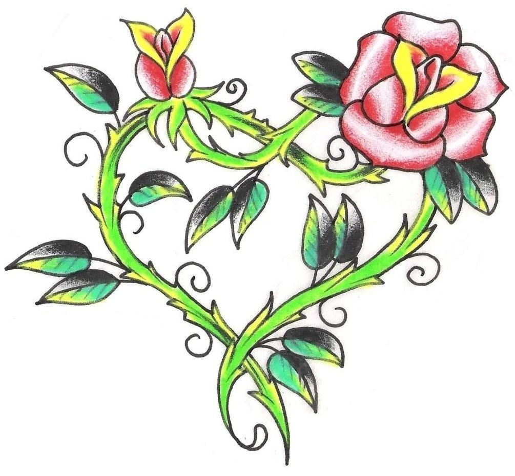 1005x930 Heart With Red Rose Tattoo Design