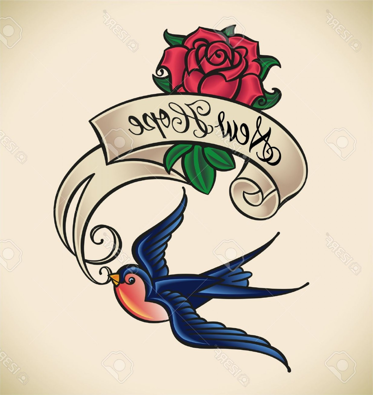 1476x1560 Photoold School Styled Tattoo With A Swallow Banner And Rose