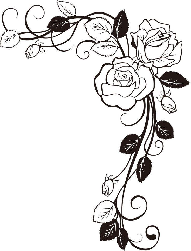 736x966 Rose Tattoo Clipart Flower Border