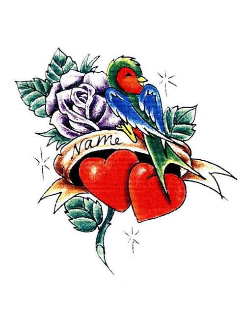 501x649 Bird Rose Heart Name Tattoo Free Design Ideas Dr Flash Tattoo