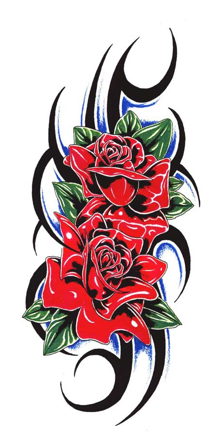 447x900 Tribal Red Roses Tattoo Design With Green Leaves