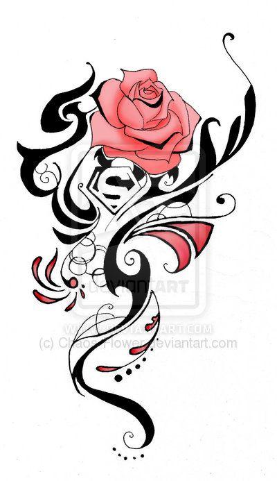 400x693 Tribal Tattoo Designs Iluvflowers Superman Tattoos, Tattoos