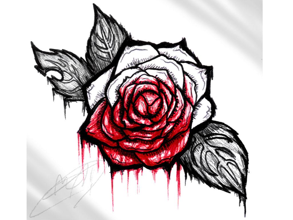1024x768 Charming Bloody Rose Tattoos Bloodyrosetattoo