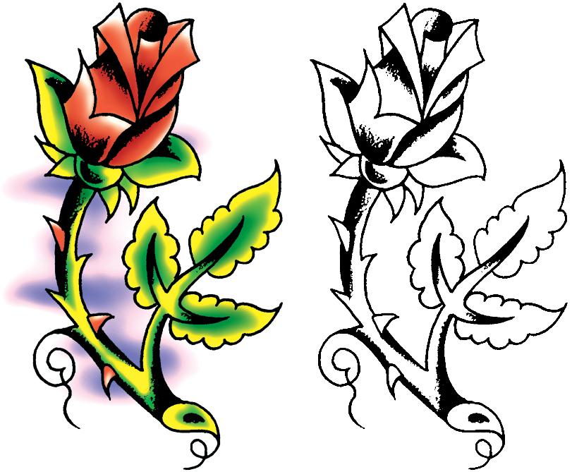 811x669 Classic Rose Tattoo Designs