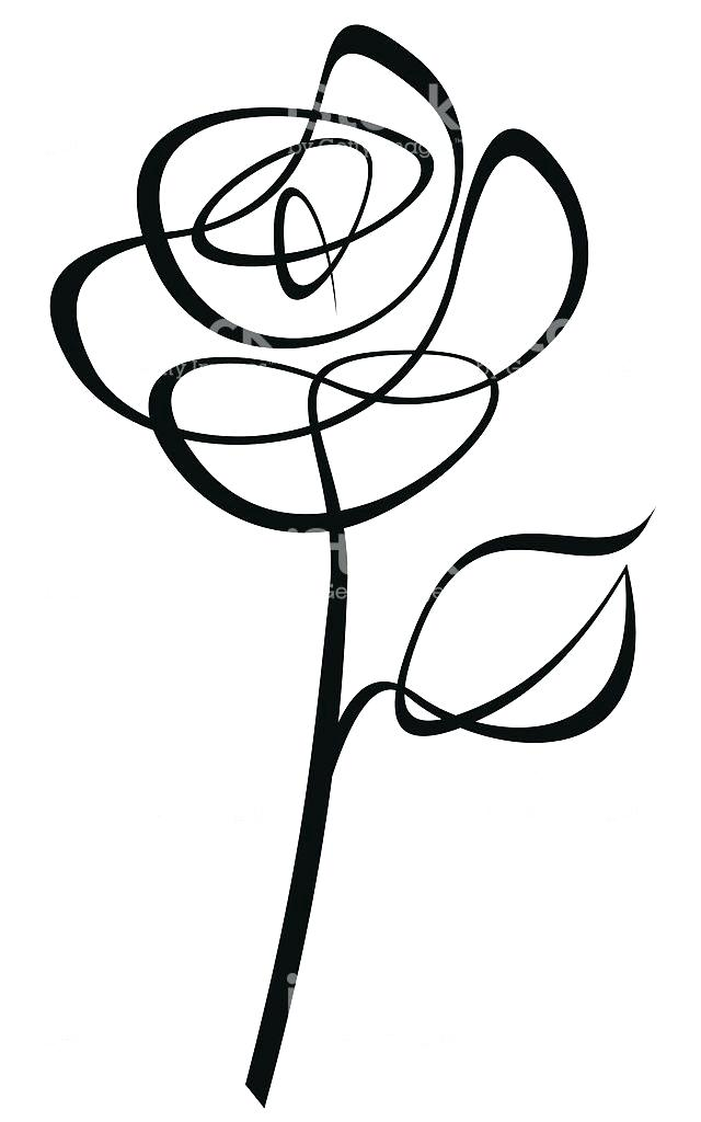 Rose With Stem Drawing   Free download on ClipArtMag