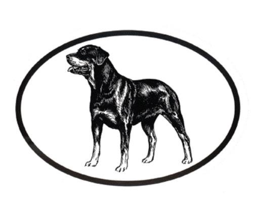 500x397 Dog Breed Oval Vinyl Car Decal Black White Sticker