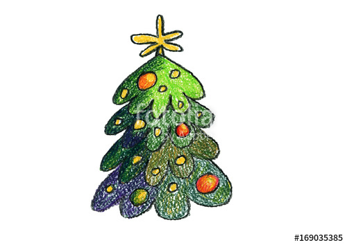 500x354 Christmas Tree New Year Kids Drawing Children Drawings Stock