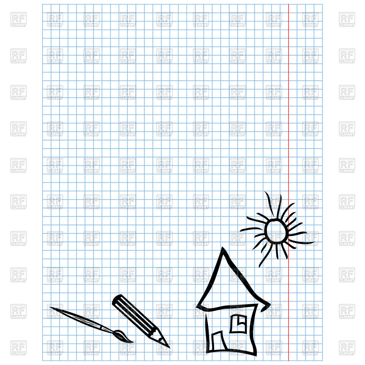 1200x1200 Childish Simple Drawings On Checkered Sheet Vector Image