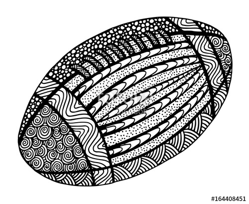 500x409 Hand Drawn Rugby Ball Illustration On Black And White Stock Photo