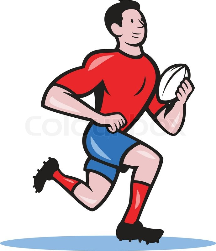 689x800 Illustration Of A Rugby Player Running Stock Vector Colourbox
