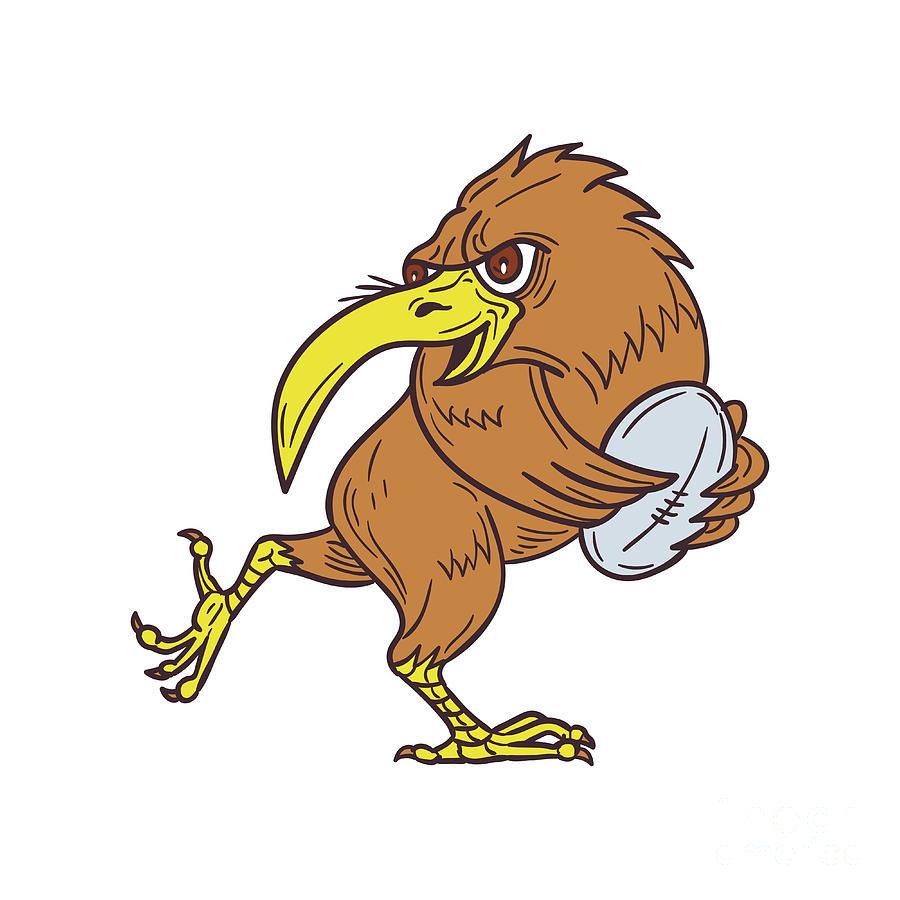 900x900 Kiwi Bird Running Rugby Ball Drawing Digital Art