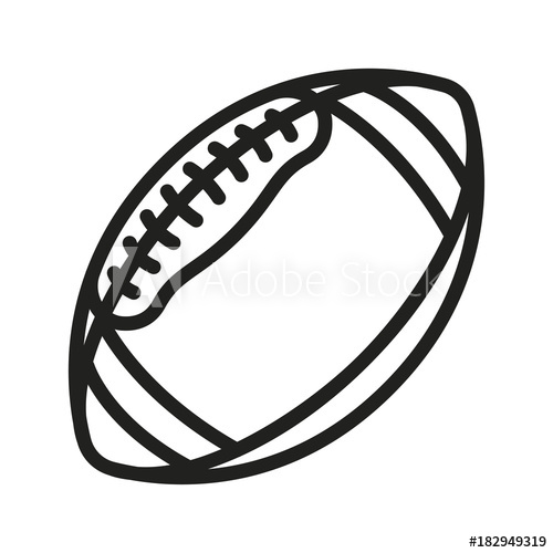 500x500 American Football Rugby Ball Minimal Flat Line Outline Stroke Icon