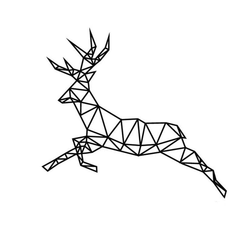 800x800 Geometric Running Deer Wall Sticker Vinyl Art Geometry Animal