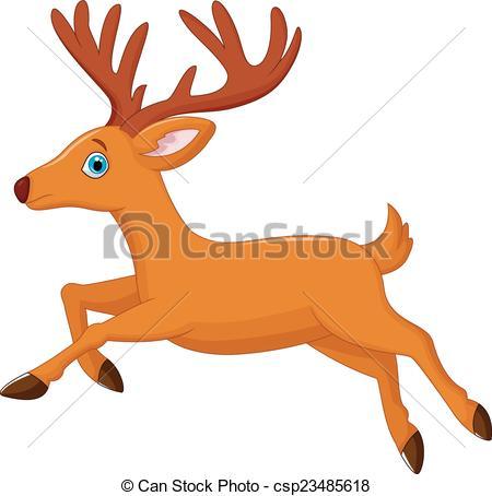 450x454 Vector Illustration Of Cartoon Deer Running Vector Clip Art