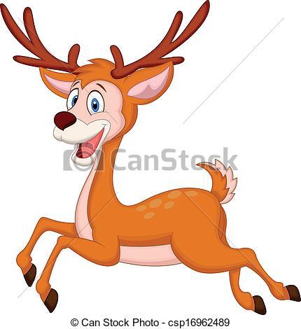 430x470 Vector Illustration Of Cute Deer Cartoon Running