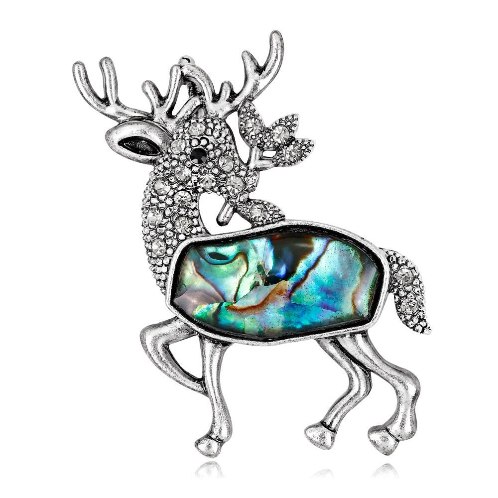 1000x1000 Cute Sea Shell Brooch Running Deer Shape Rhinestone Alloy